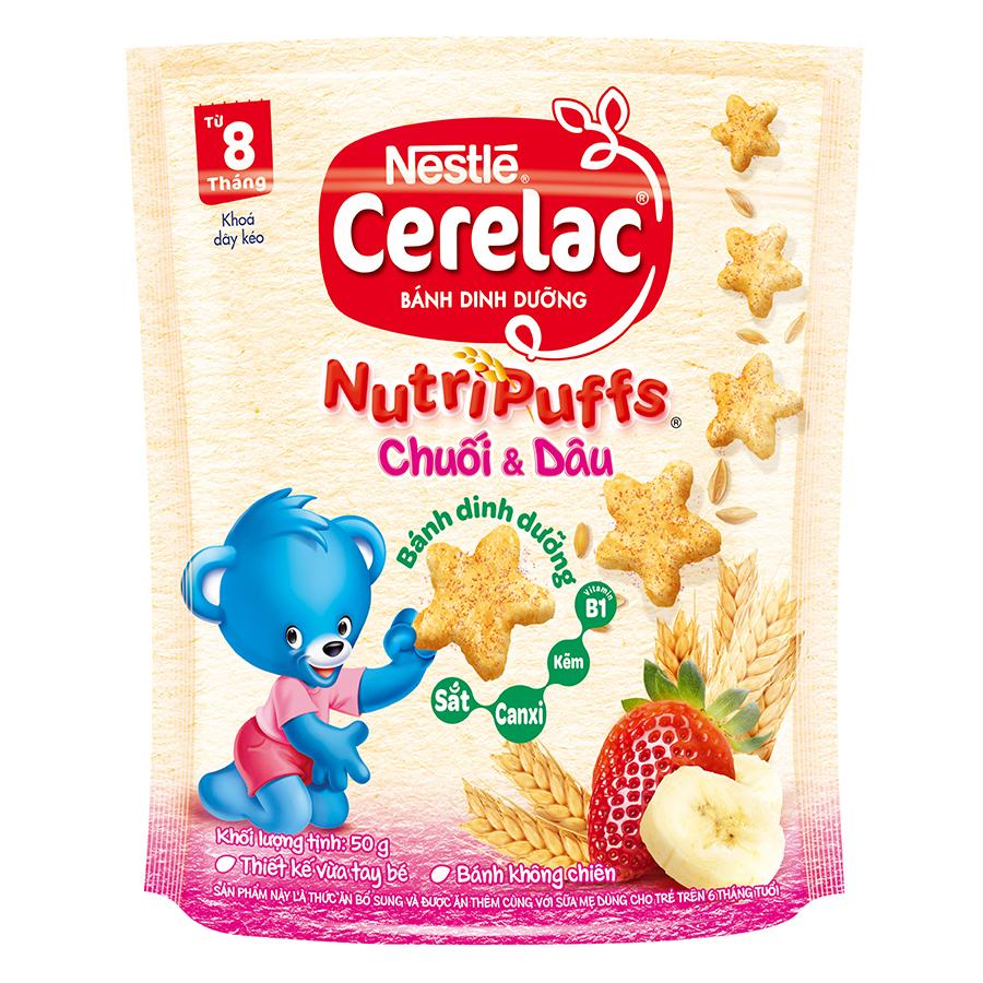 Bánh Ăn Dặm Nestlé CERELAC Nutripuffs Vị Chuối Dâu - Gói 50g
