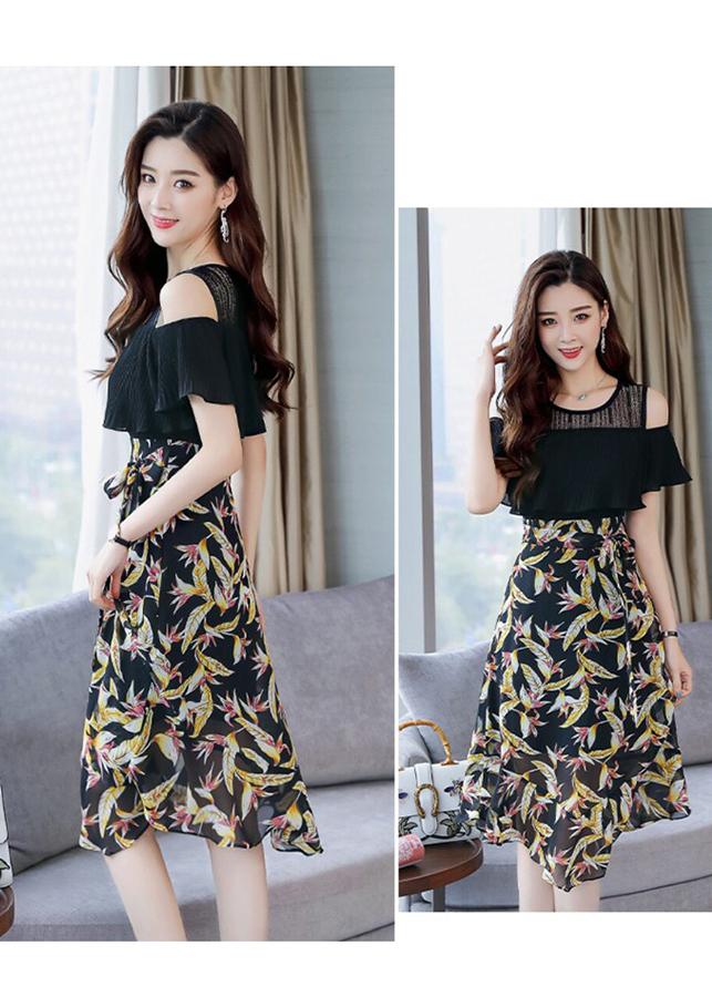 Đầm Khoét Vai Chân Váy Hoa-S240084