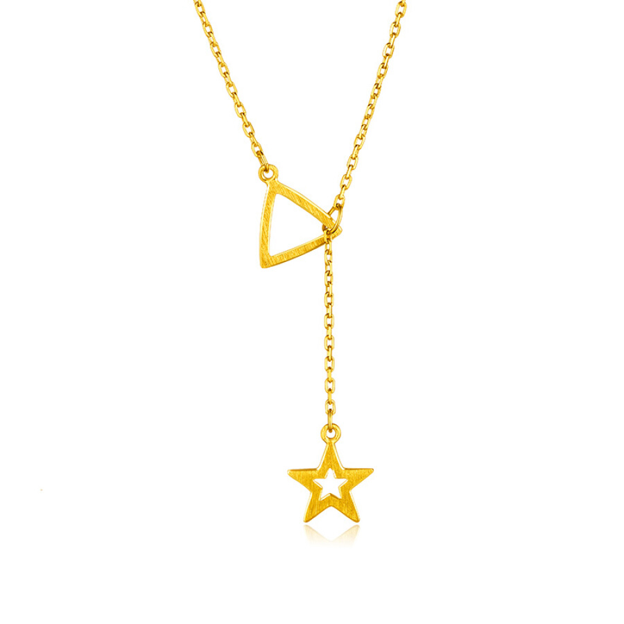 Liufu jewellery gold hollow star gold necklace female models clavicle chain set chain with pendant pricing L05TBGN0009 about 4.22 grams