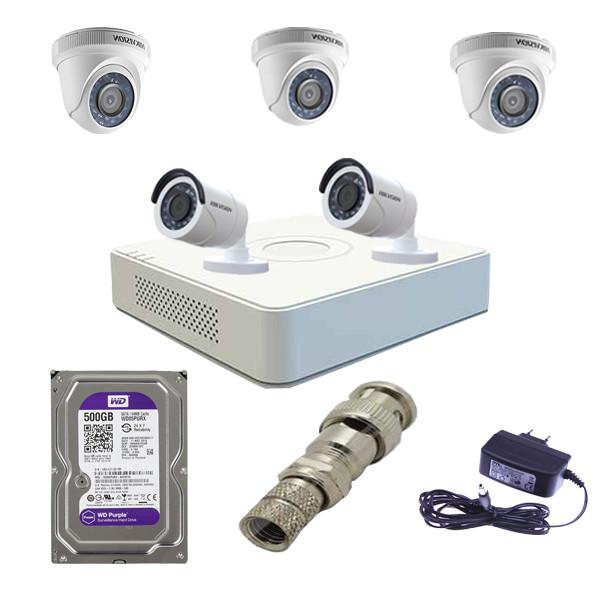 Trọn bộ 5 camera Hikvision chính hãng DS-2CE56D0T-IRP + DS-2CE16D0T-IRP và đầu ghi DS-7108HGHI-F1/N