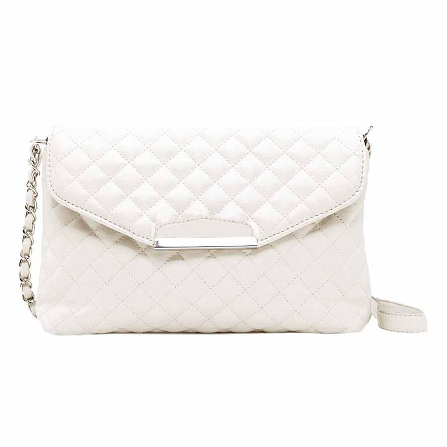 Vintage Women Quilted Shoulder Bag PU Leather Flap Front Crossbody Envelope Bag Clutch