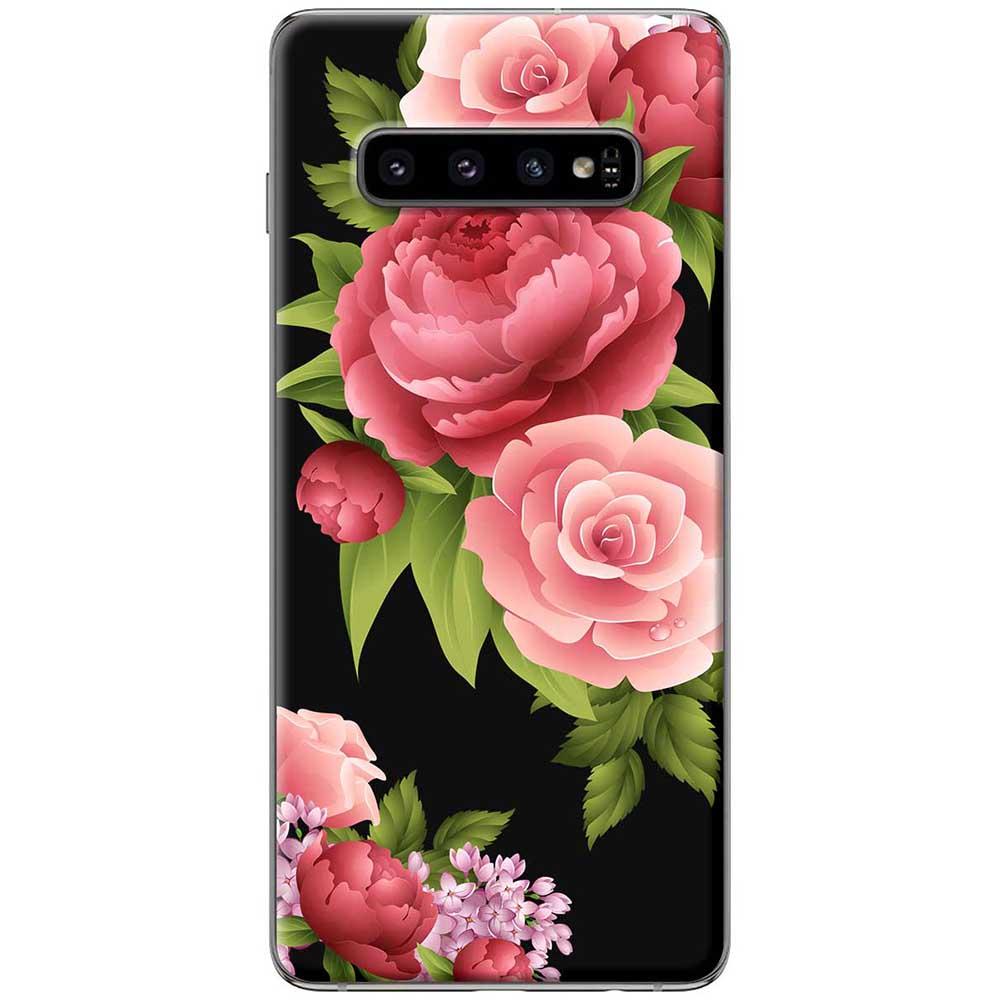 Ốp lưng  dành cho Samsung Galaxy S10 mẫu Hoa hồng đỏ nền đen