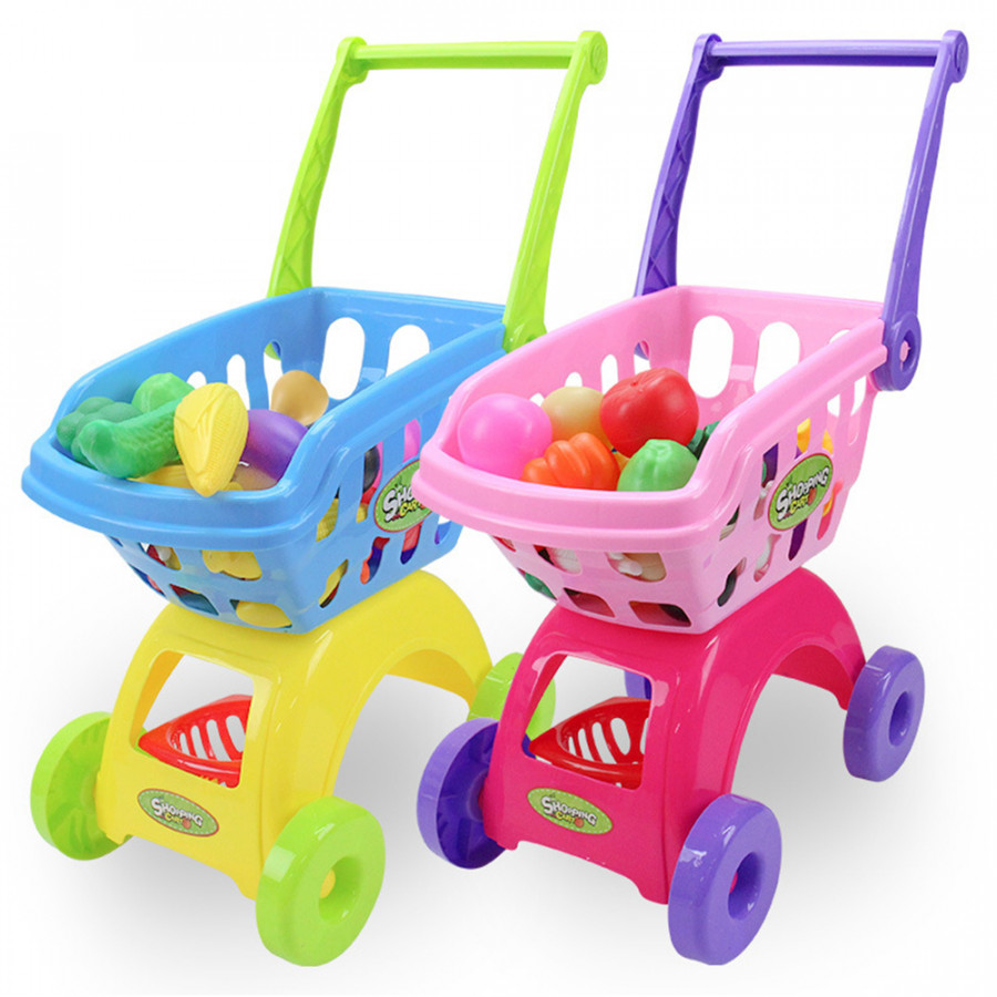 Simulation Shopping Trolley Shopping Cart Toy High Performance ABS Colours Learning Gift