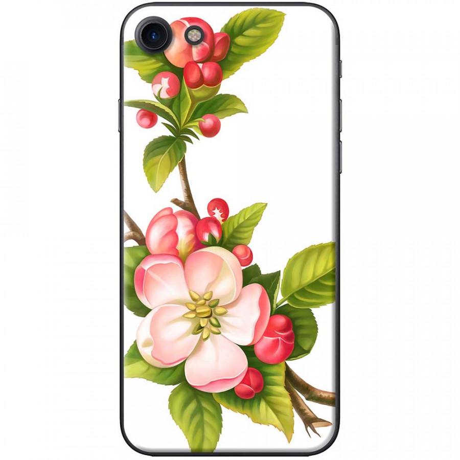 Ốp lưng dành cho iPhone 7 mẫu Hoa đào đỏ nền trắng
