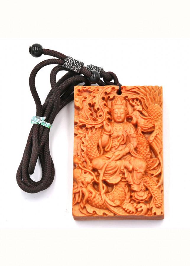Vòng cổ mặt gỗ ngọc am khắc Phật Quan âm MG15