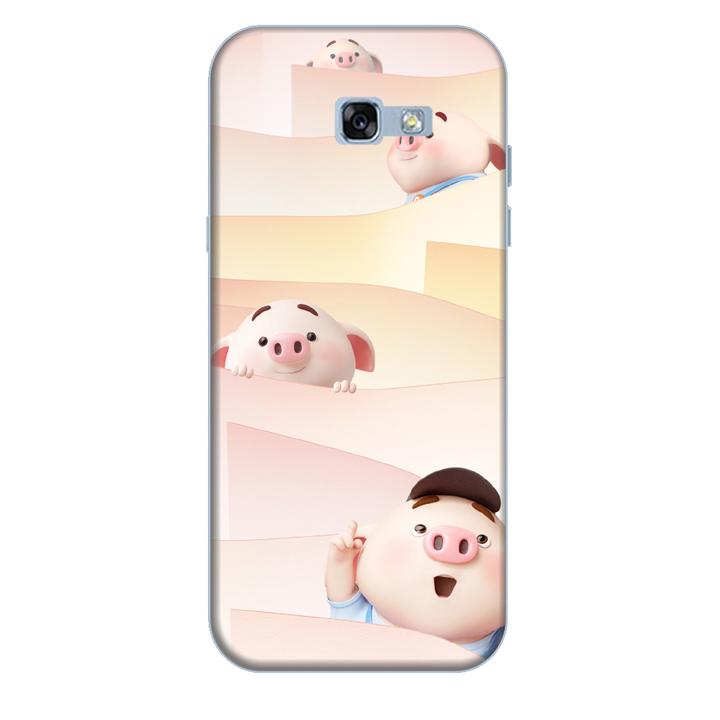 Ốp lưng nhựa cứng nhám dành cho Samsung Galaxy A7 2017 in hình Heo Con Tò Mò