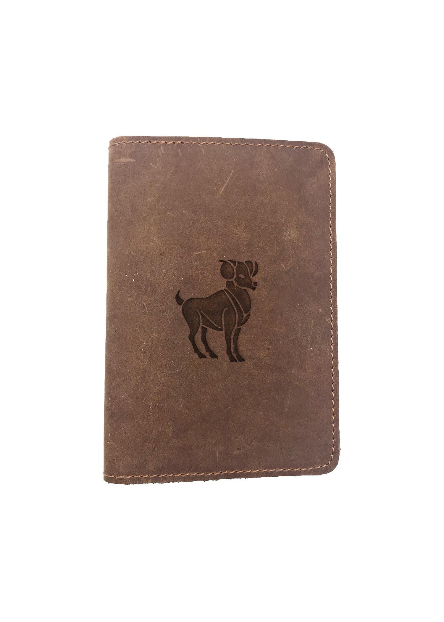 Passport Cover Bao Da Hộ Chiếu Da Sáp Khắc Hình Chó ARIES (BROWN)
