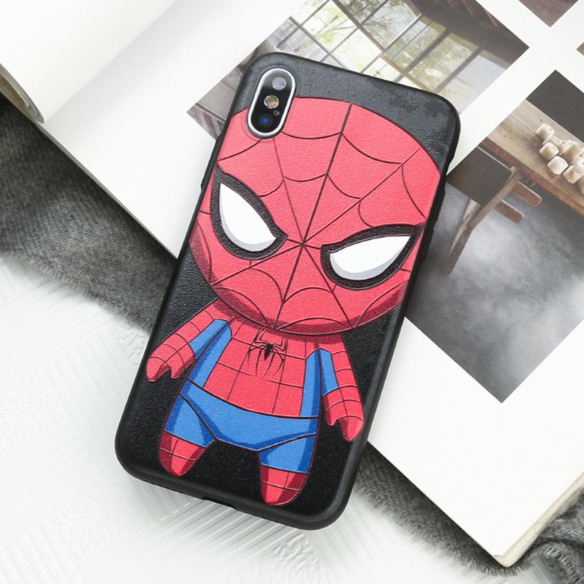 Ốp lưng viền dẻo in nổi hình siêu anh hùng phong cách chibi cho iPhone XS Max 6.5