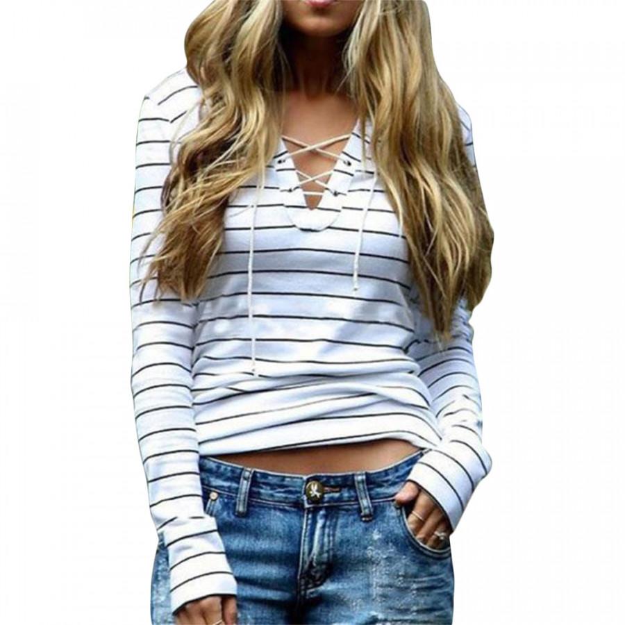 Women Stripe Bandage Long Sleeve Casual V Neck Loose Top Blouse Tee T Shirts