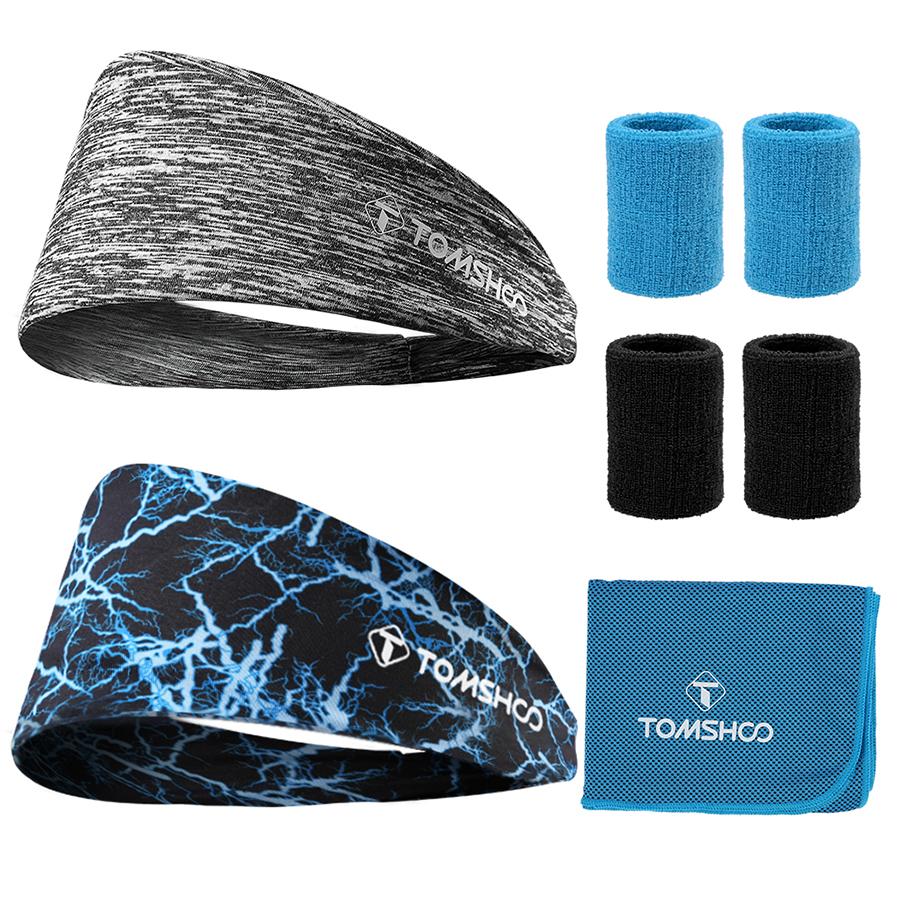 TOMSHOO 8pcs kit 2headbands + 4sport wristbands + 1Cooling Towel for running, yoga, workout gym exercise
