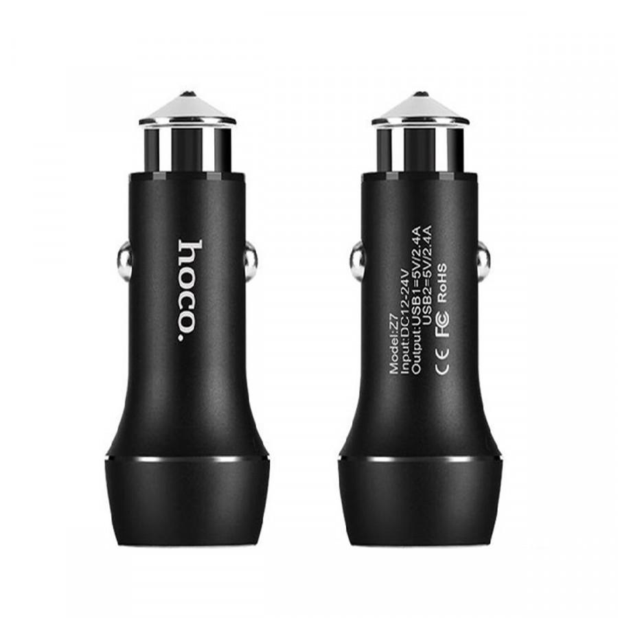 Tẩu sạc ô tô 2 cổng sạc Hoco Z7 Kingkong 2 cổng sạc USB 2.4A- Hàng Chính Hãng
