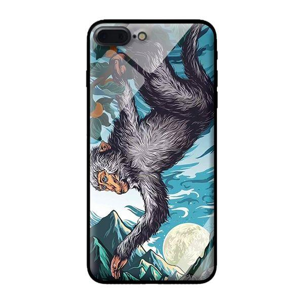 Ốp lưng kính cường lực cho iPhone 8 Plus Khỉ Đu Cây - Hàng chính hãng