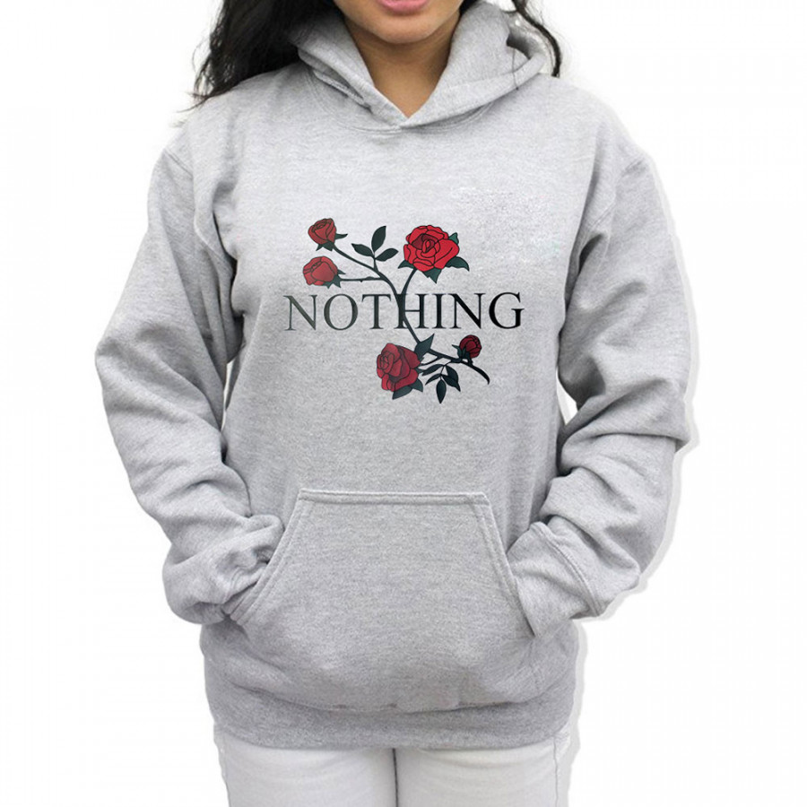 Womens Fashion NOTHING Letter Long sleeves Sweater Top Pullover Hoodies