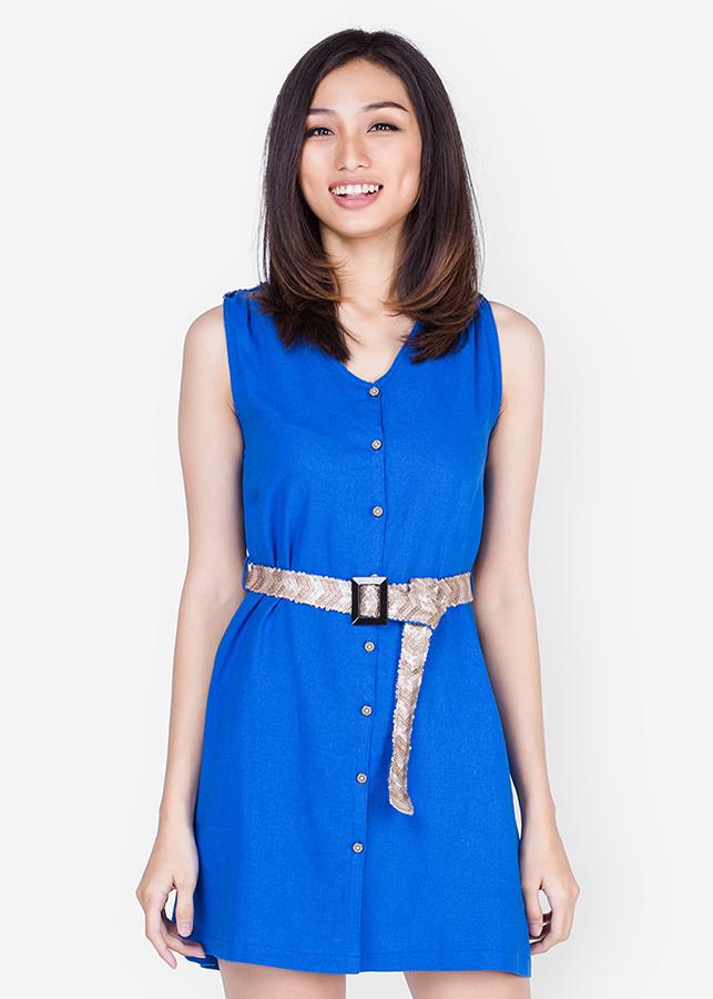 Đầm Sơ Mi Linen Phối Kim Sa - Xanh - Citino