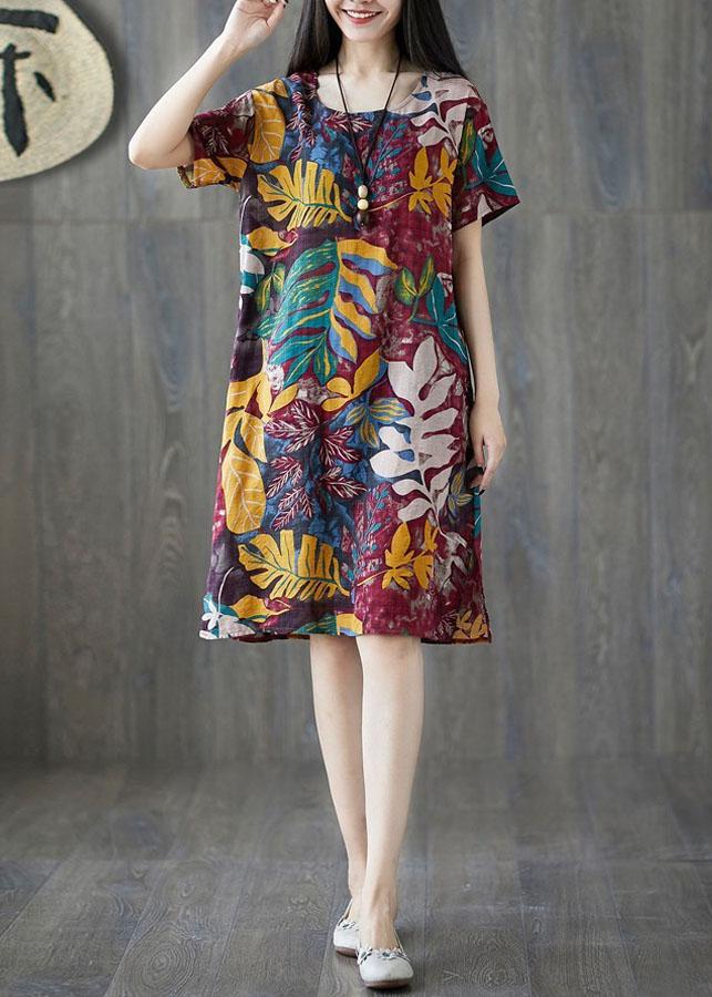 Đầm suông họa tiết hoa lá 2D2247