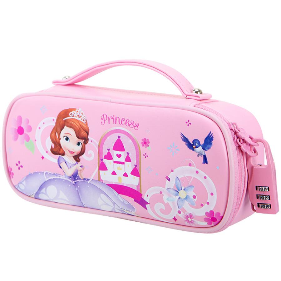 Disney (Disney) Sufi Asia PU pencil pockets female student pencil case multi-storey Korean version of the pink