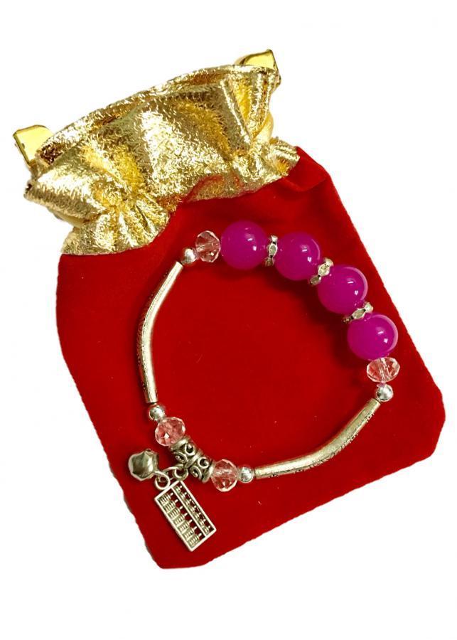 Lắc tay nữ hạt châu phủ màu hồng gắn họa tiết hợp kim pha bạc độc đáo cùng chuông nhỏ cực xinh LT10 (cỡ hạt...