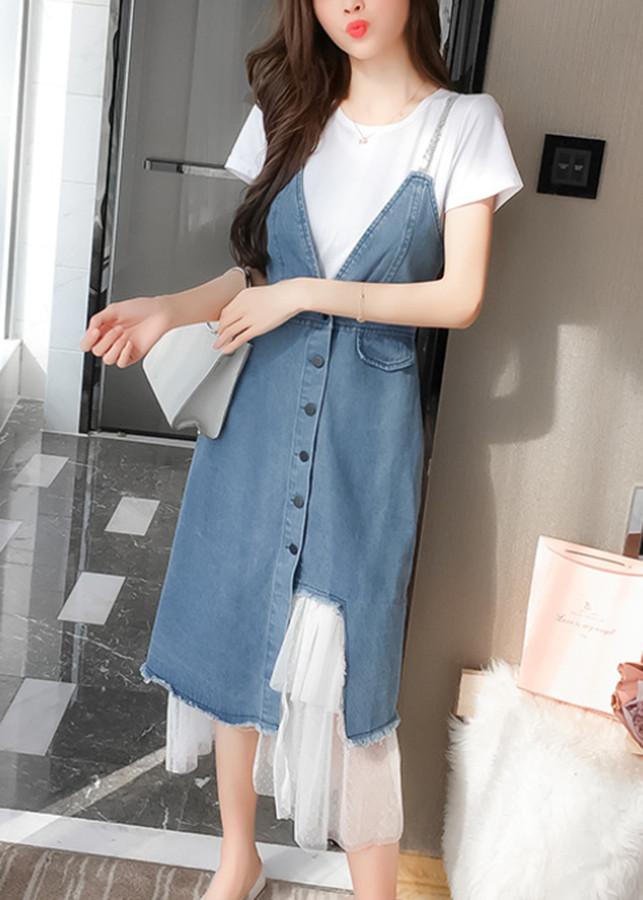 1934757554464 - Bộ áo thun cộc tay và đầm jeans yếm 2 dây dễ thương
