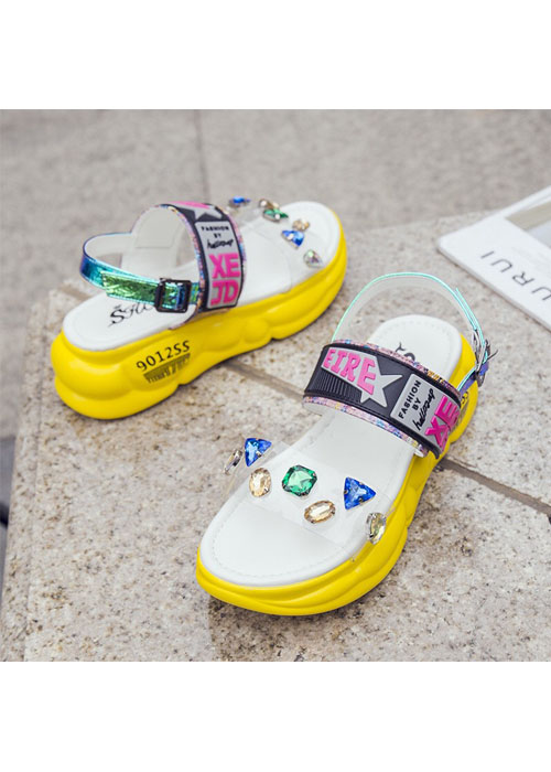 Giày Sandal Quai Trong Đính Đá Phối Màu - TT13