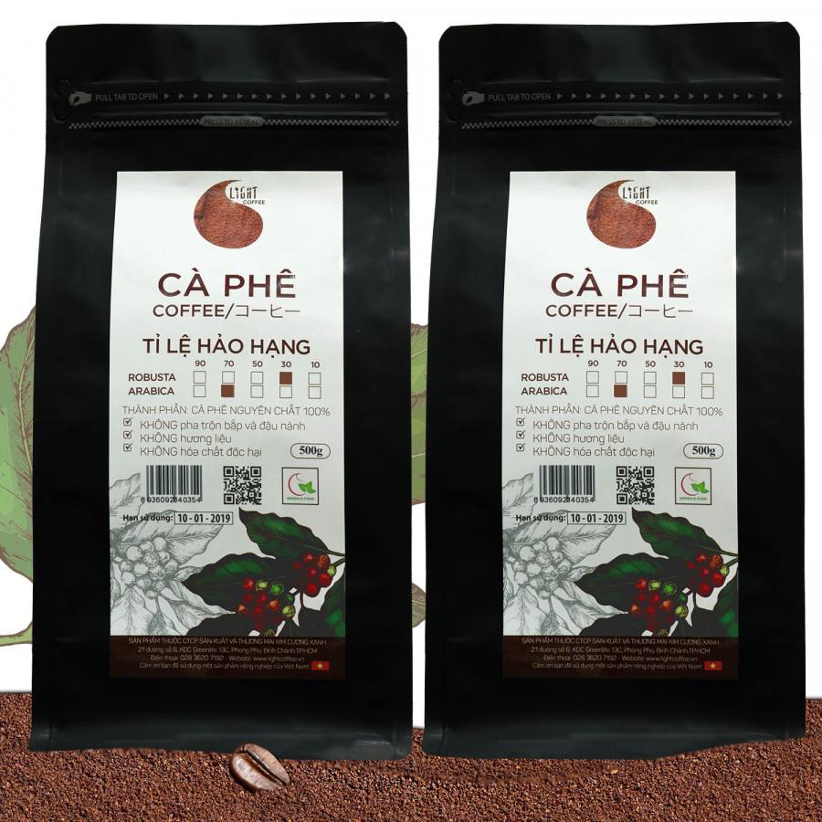 2 gói Cà phê bột nguyên chất 100% Tỉ lệ Hảo Hạng - 30% Robusta + 70% Arabica - Light coffee - gói 500g
