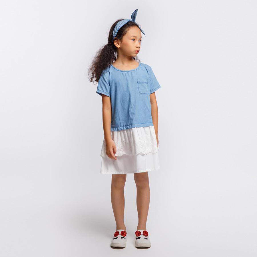 3657124405883 - Áo đầm bé gái Feminine contrast lace - DGSPR19D11