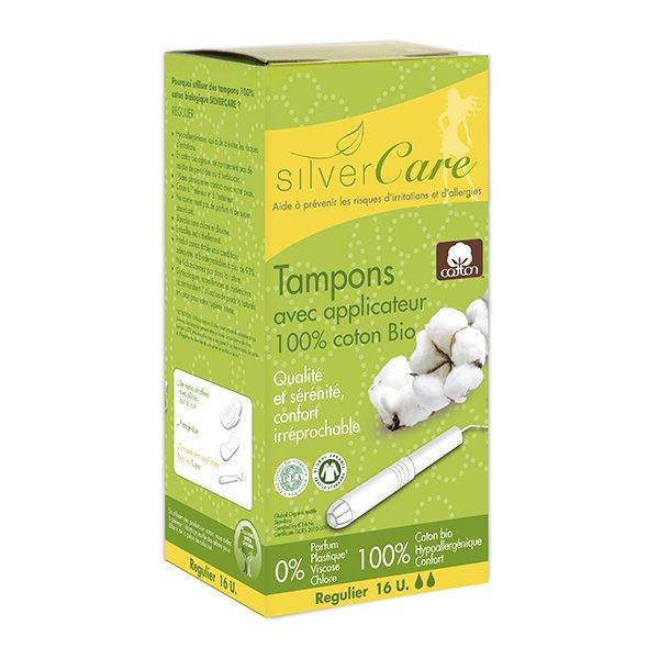 Tampon hữu cơ 2 giọt có cần đẩy Silvercare Regular 16 miếng