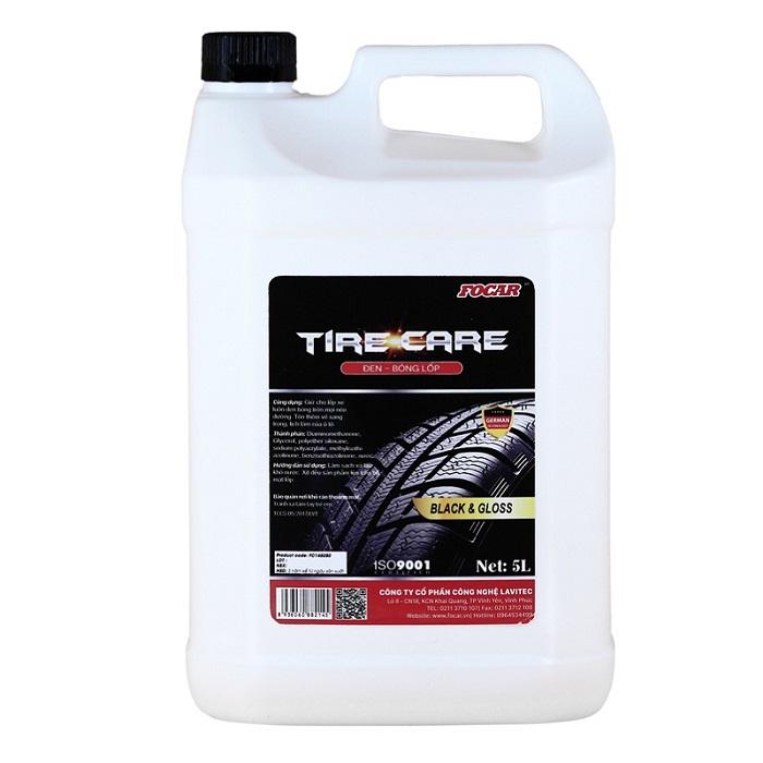 Dung dịch dưỡng đen bóng lốp ô tô Focar Tire Care 5Ll (Tặng 5 khăn lau Focar)