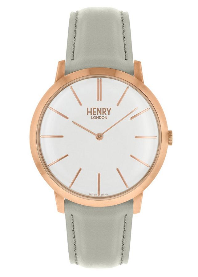 Đồng Hồ Dây Da Bò Henry London HL40-S-0290 Iconic (40mm) - Xám + Dịch Vụ Khắc Tên