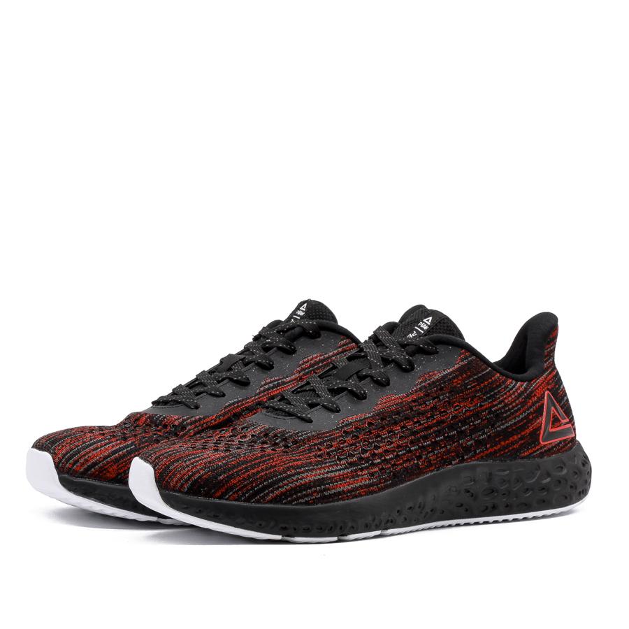 Giày chạy bộ Nam PEAK Cushion Running E84107H - Đỏ Đen