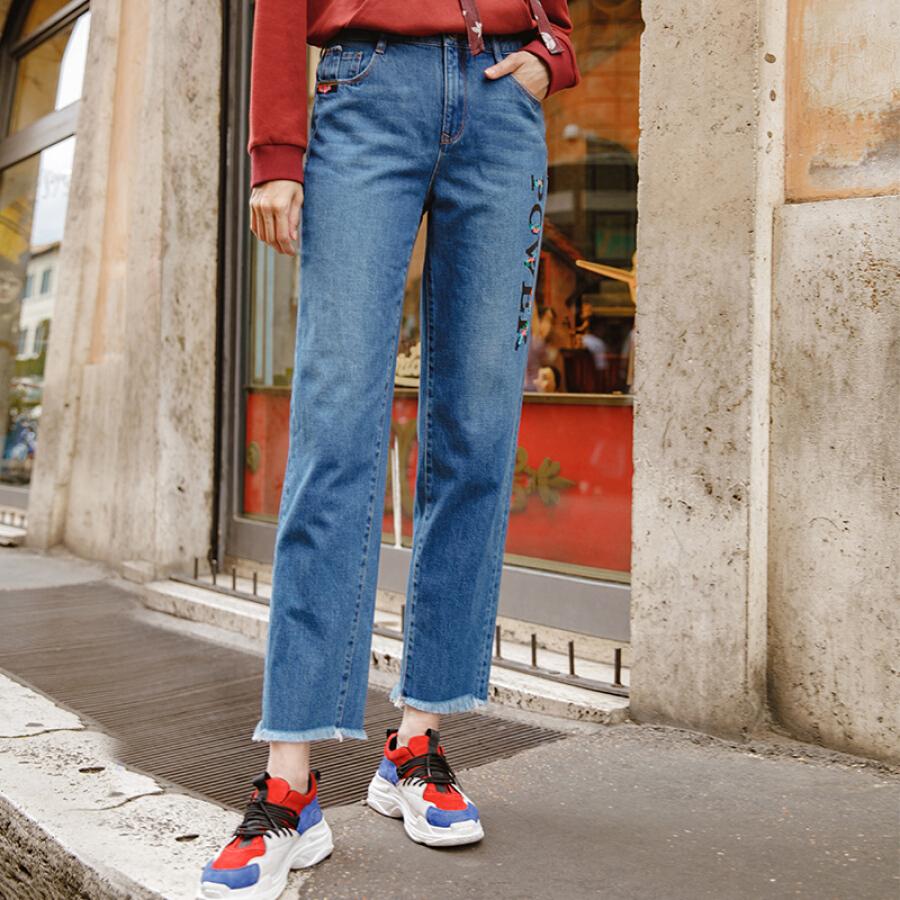 Quần Jeans Nữ Ống Suông Cắt Lai Thêu Chữ INMAN 18833VP34524
