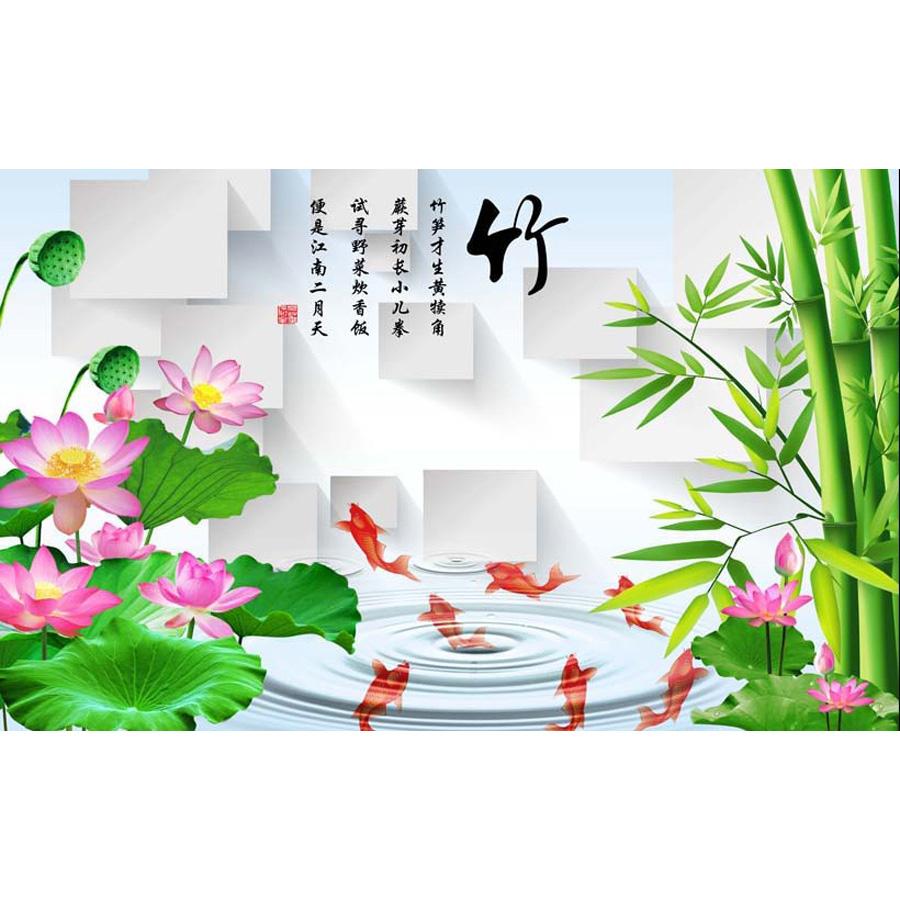 Tranh dán tường 3d | Tranh dán tường phong thủy hoa sen cá chép 3d 312