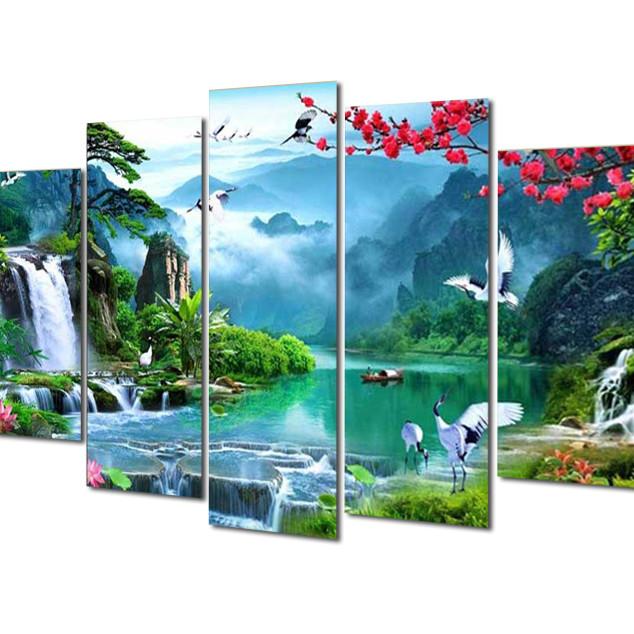Tranh treo Tường Thác nước sơn thủy ST906043- Tranh gỗ treo tường