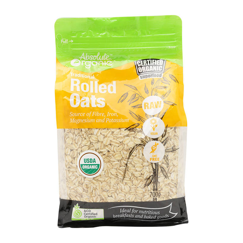 Yến mạch hữu cơ nguyên hạt cán mỏng Absolute Organic Rolled Oat (700g) - Nhập khẩu Australia