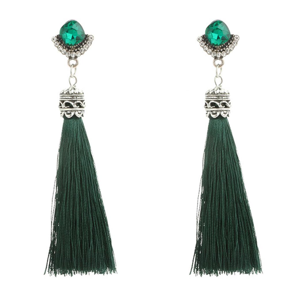 Bohemia Rhinestone Tassel Long Dangle Ear Studs Women Earrings Bridal Jewelry