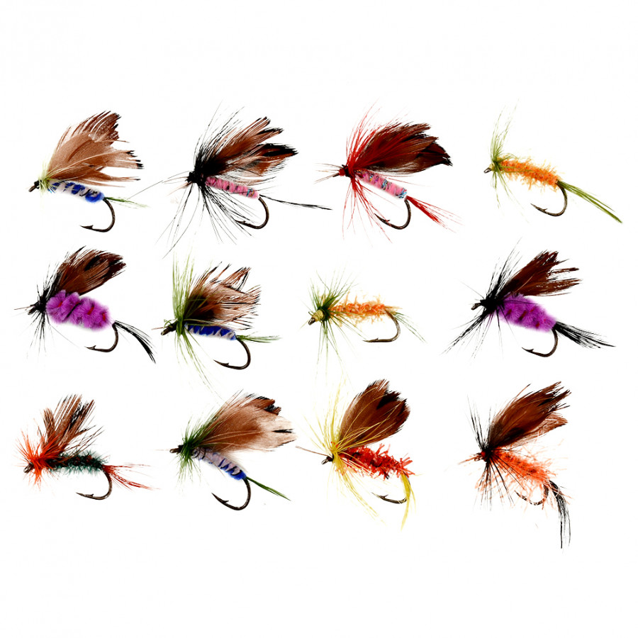 Set Of 12pcs Various Dry Fly Hooks Fishing Salmon Flies Hook Lures NEW