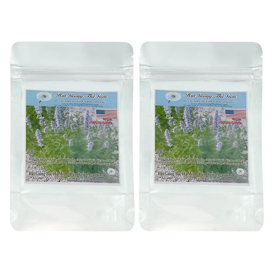 Bộ 2 túi Hạt Giống Bạc Hà Mint - Hàn Quốc (Agastache rugosa) (50 hạt / túi)