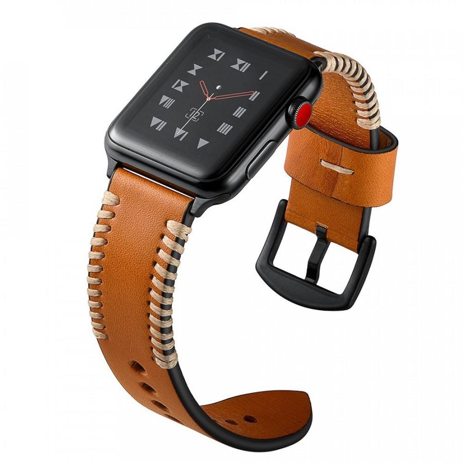 Dây đồng hồ Apple Watch 44mm/42mm/40mm/38mm, dây da Handmade 06 khóa thép không gỉ