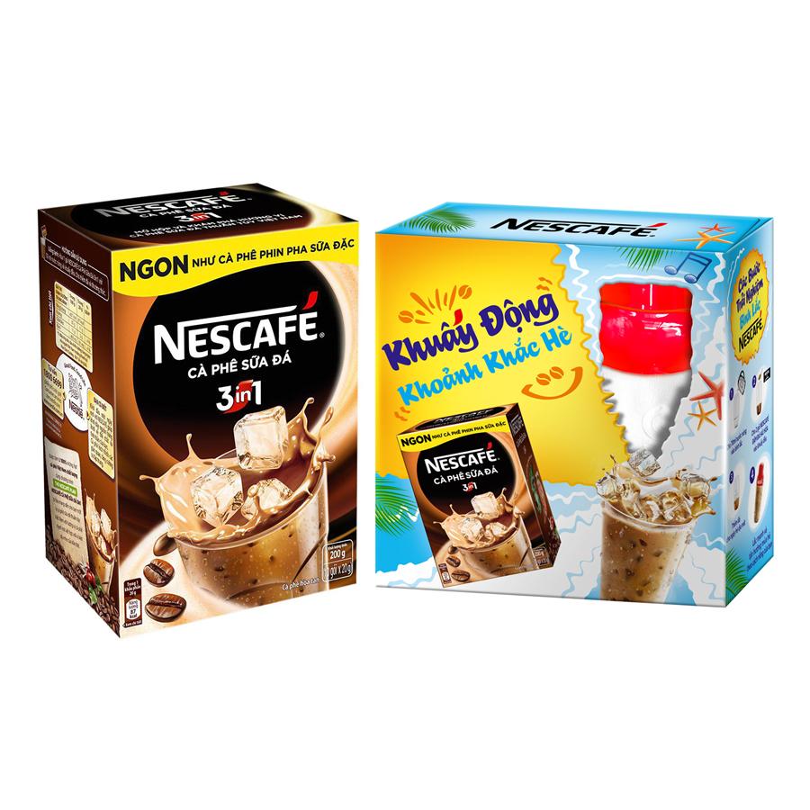 Hộp NESCAFE 3in1 Cà phê Sữa Đá (10 gói x 20g) - Tặng 01 Bình Lắc