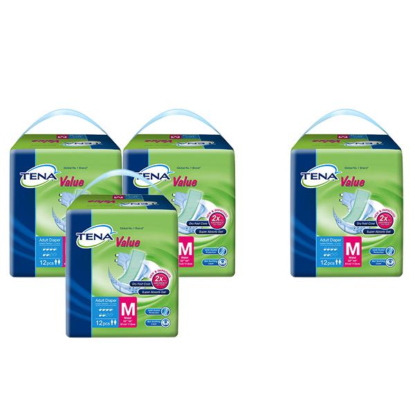 Combo 3 Gói Tã Dán Người Lớn Tena Value Size M M12 (12 Miếng) + Tặng 1 gói Tena cùng loại