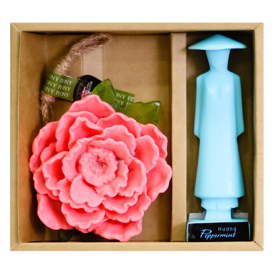 Combo Xà Bông Thiên Nhiên Hương Hoa Mẫu Đơn + Xà Bông Áo Dài Hương Bạc Hà Eccomorning Natural Handmade Soap (100g/Bánh)