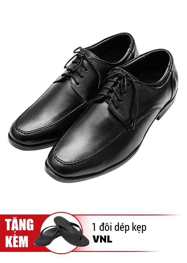 Giày Tăng Chiều Cao Cột Dây Cổ Điển Da Thật VNL VNL0ALZD20CD- QTDK - Đen + Tặng 1 Đôi Dép Kẹp (Size Ngẫu Nhiên)