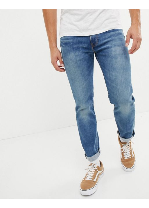 Quần jean nam LE511 màu xanh truyền thống mài dáng body slimfit