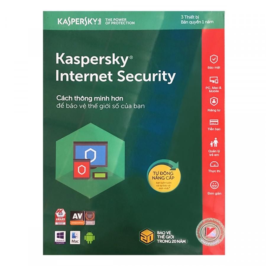 Phần mềm Kaspersky Internet 3PC 1 năm