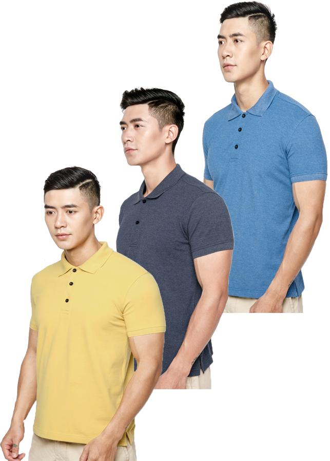 Combo 3 Áo thun nam 100% Cotton, EZ06 (Xanh bích, xanh đen, vàng)
