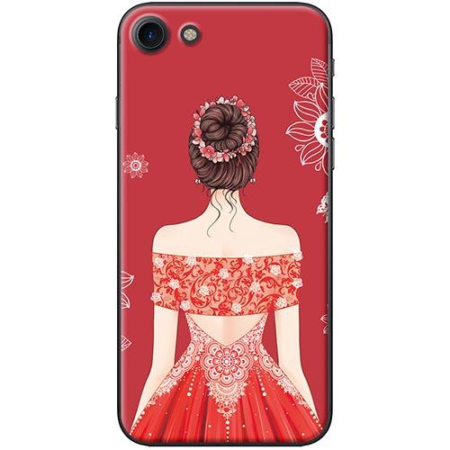 Ốp Lưng Hình Cô Gái Váy Đỏ Áo Xẻ Vai Dành Cho iPhone 7 / 8