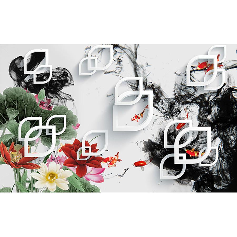 Tranh dán tường 3d | Tranh dán tường phong thủy hoa sen cá chép 3d 120