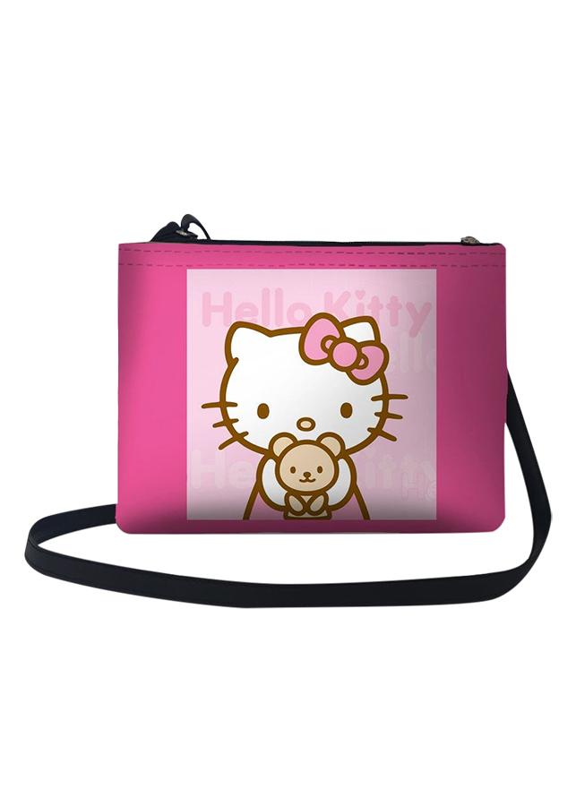 Túi Đeo Chéo Nữ In Hình Hello Kitty Ôm Gấu - TUCT013 (24 x 17 cm)