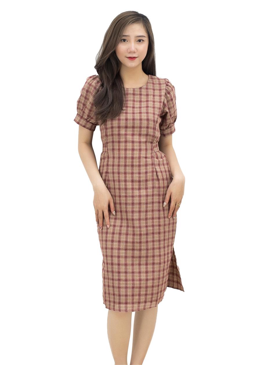 Đầm Caro Tay Bồng Suông - 1859503 , 2633752026219 , 62_14083172 , 380000 , Dam-Caro-Tay-Bong-Suong-62_14083172 , tiki.vn , Đầm Caro Tay Bồng Suông