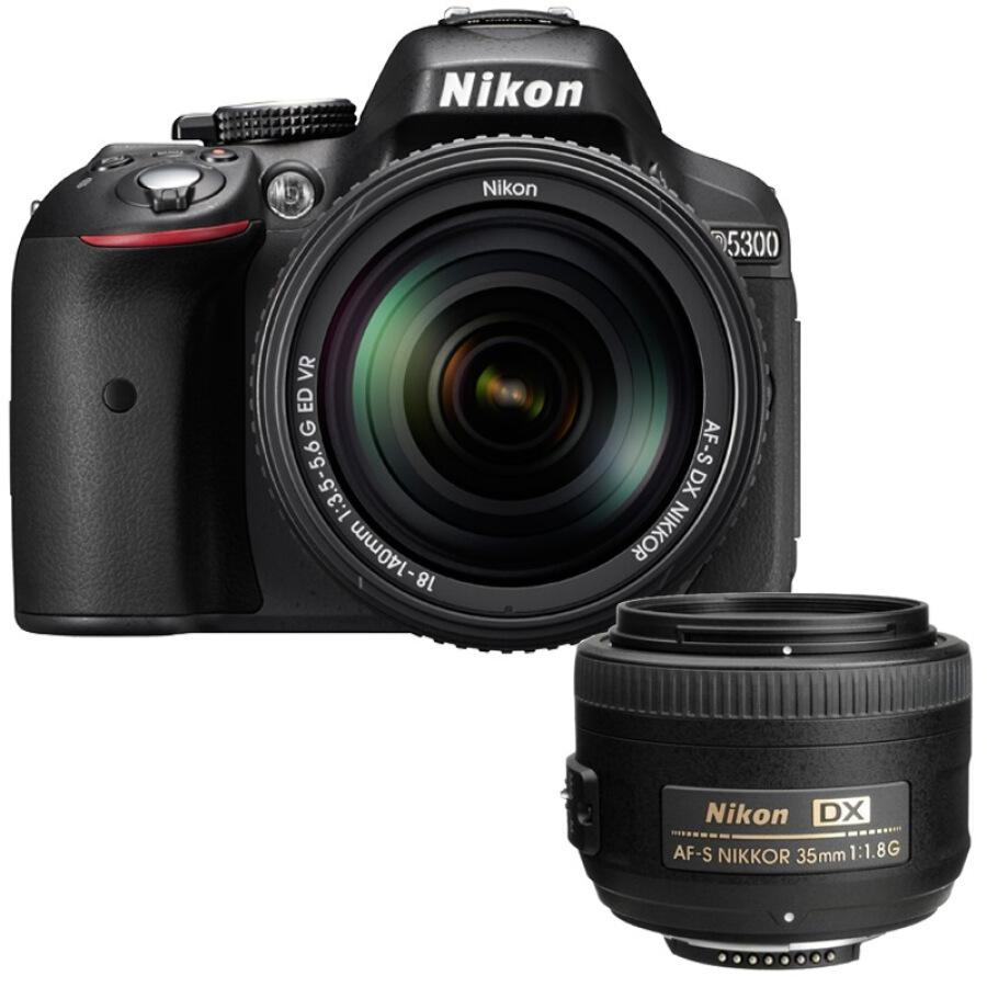 Bộ Ống Kính Kép Nikon D5300 Slr ( (18-140mmf / 3.5-5.6g Lens + Dx 35mm F / 1.8g Ống Kính Lấy Nét Tự Động) - Hàng nhập khẩu