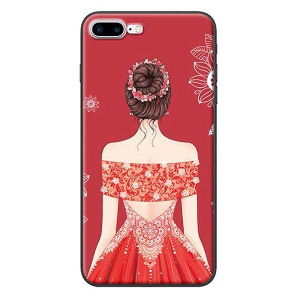 Ốp Lưng Dành Cho iPhone 7 Plus/ 8 Plus - Mẫu  Cô Gái Váy Đỏ Áo Xẻ Vai